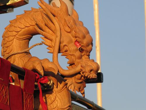 平成19年度新調 赤間幕飾り彫刻 阿吽の龍 吽形